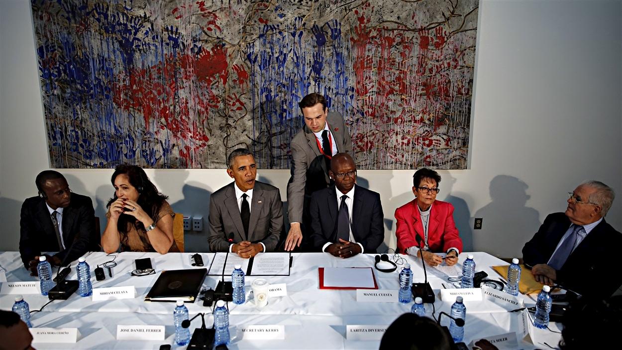Barack Obama entouré de dissidents du régime cubain