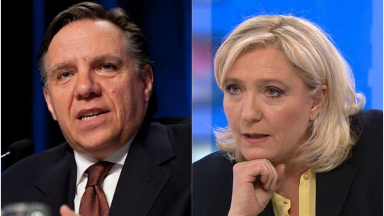 Marine Le Pen, du Front national et François Legault de la Coalition avenir Québec.