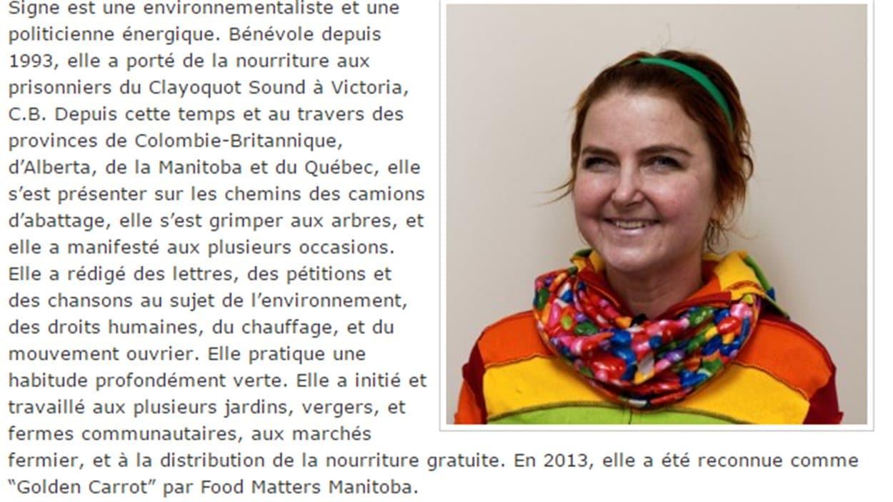 Signe Kathryn Knutson est la candidate du Parti vert du Manitoba à Saint-Boniface