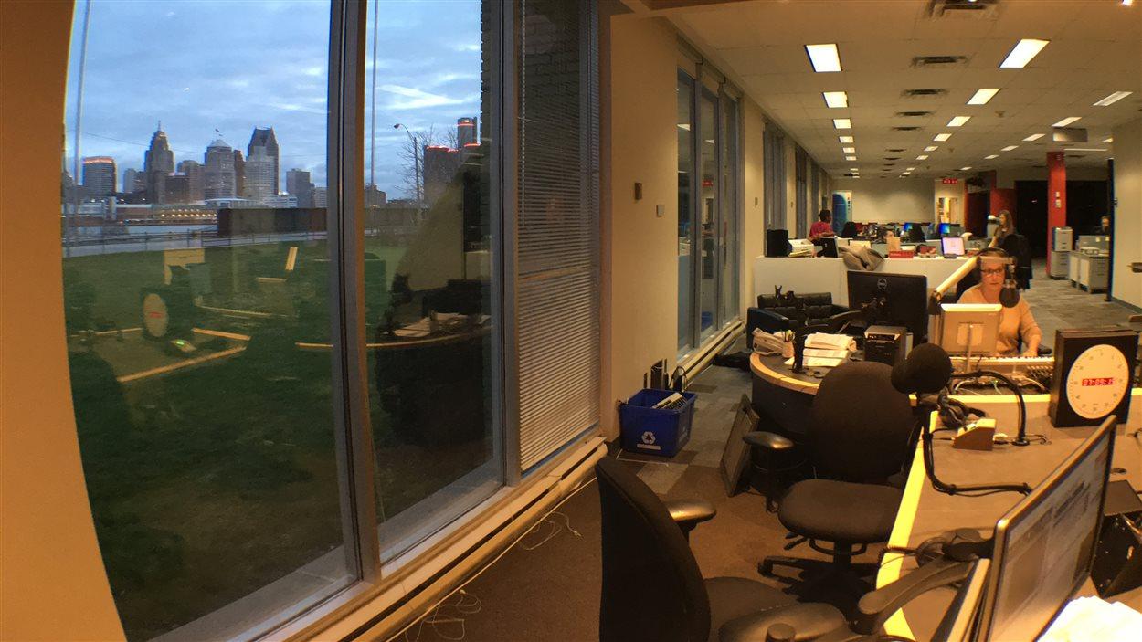 Vue sur Détroit à partir du nouveau studio de Radio-Canada à Windsor