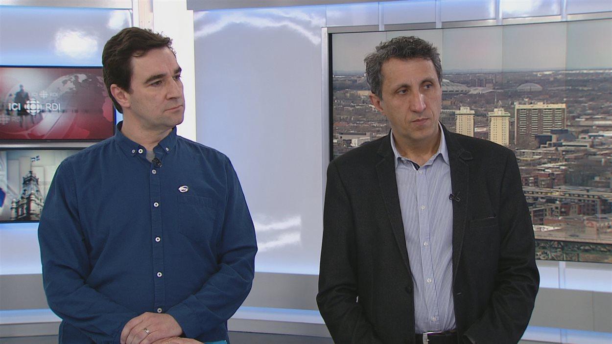 Sylvain Lirette en compagnie du député de Québec solidaire Amir Khadir.