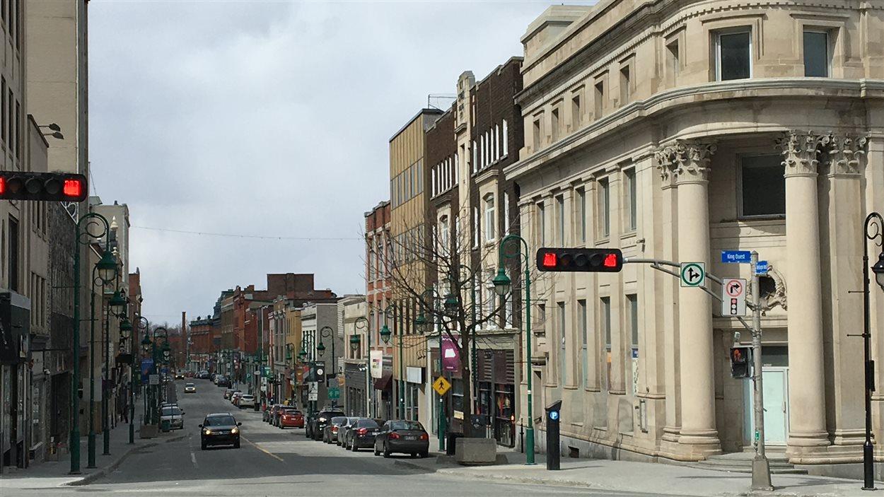 Vue de la rue Wellington Nord, centre-ville de Sherbrooke
