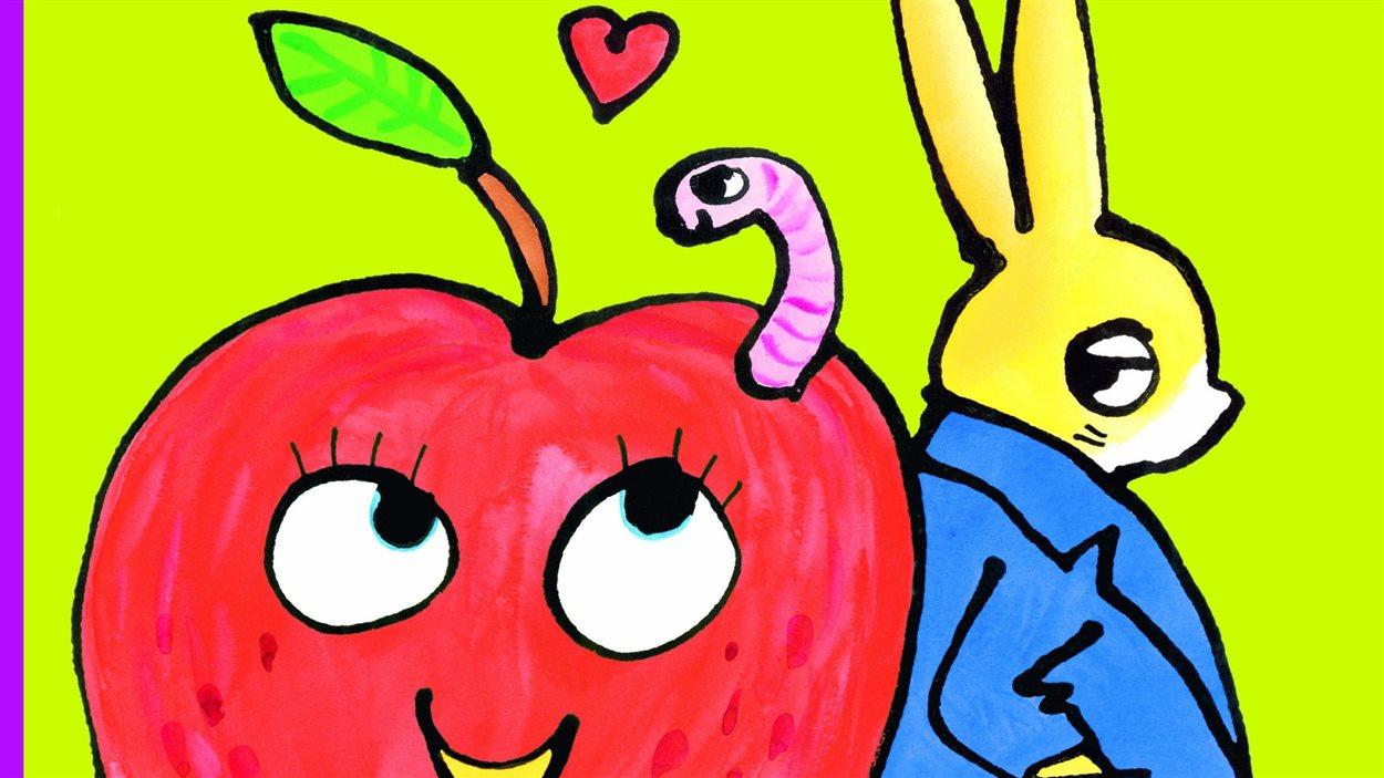Détail de la couverture de «La pomme amoureuse, une enquête de l'inspecteur Lapou» de Bénédicte Guettier