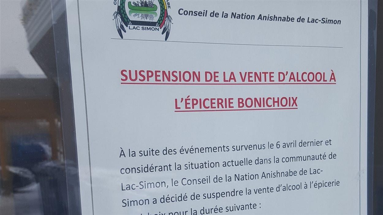 Suspension de vente d'alcool dans la communauté de Lac-Simon
