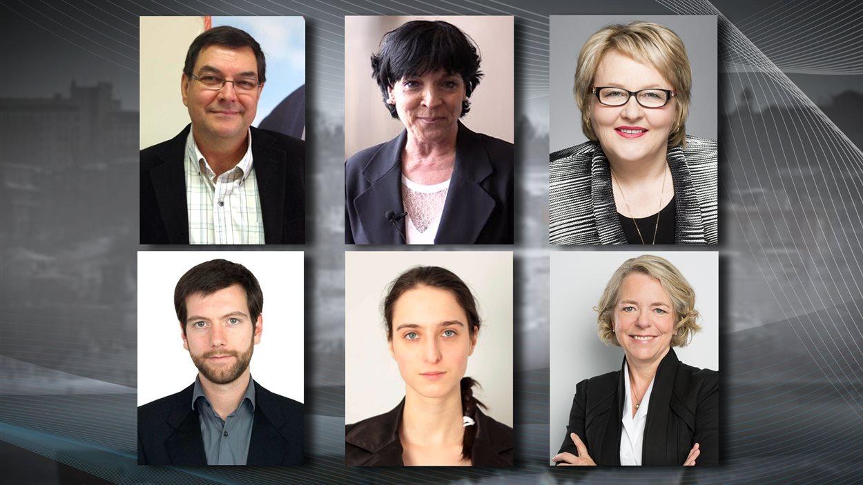 Pierre Dostie, Hélène Girard, Francyne T. Gobeil, Alex Tyrrell, Catherine Bouchard-Tremblay et Mireille Jean.