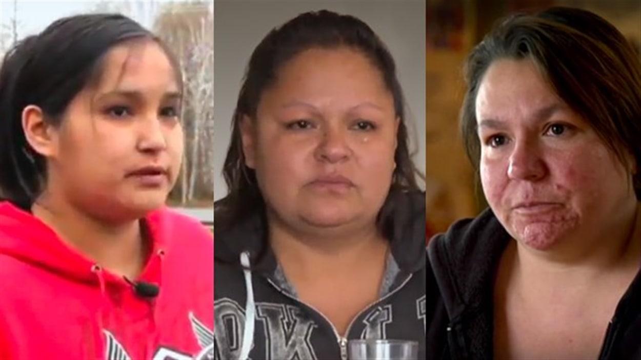 Bianca, Priscillia et Angela, des femmes autochtones de Val-d'Or qui ont dénoncé les présumées agressions de policiers de la Sûreté du Québec à l'émission <i>Enquête</i>.