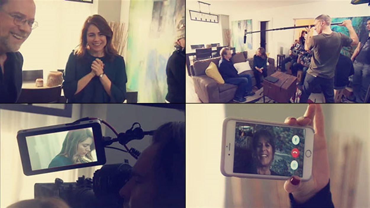 Sur le plateau de tournage de la dernière scène de « 30 vies », suivie en direct par Fabienne Larouche, à l'extérieur du pays.