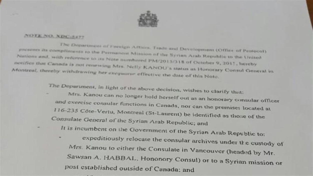 Lettre du ministère des Affaires étrangères annonçant le non renouvellement de la consule.