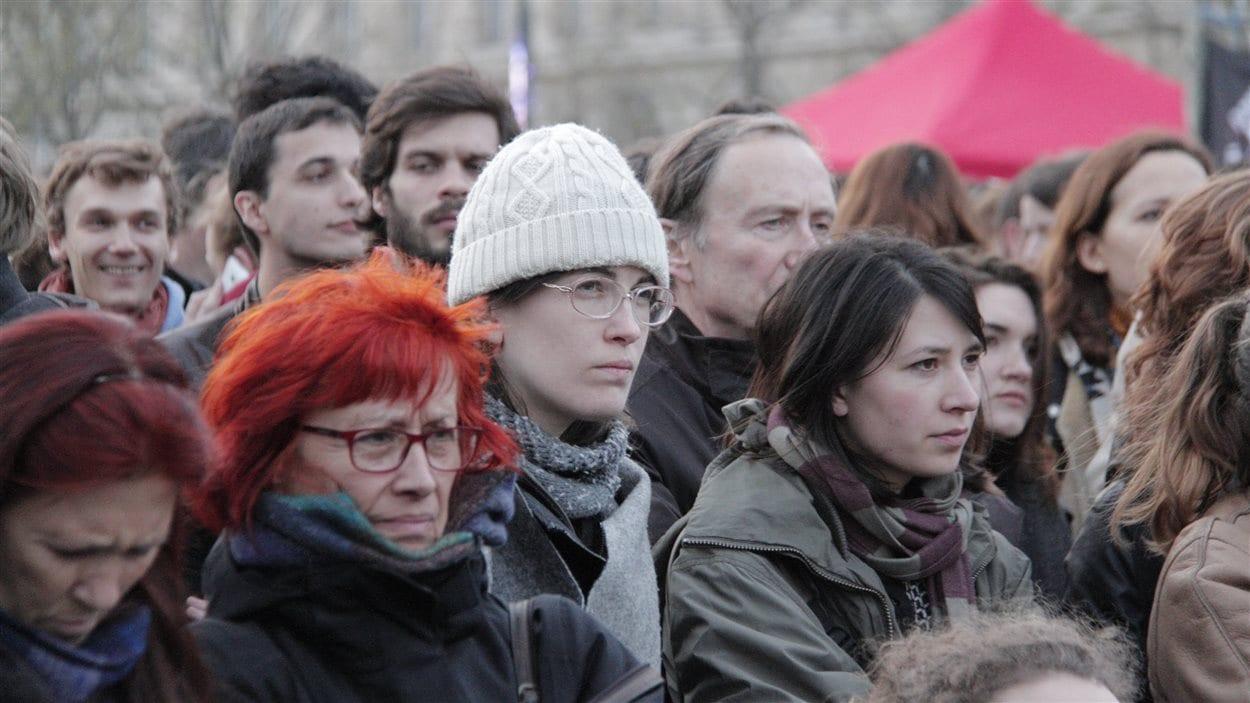 Mouvement Nuit debout à Paris.