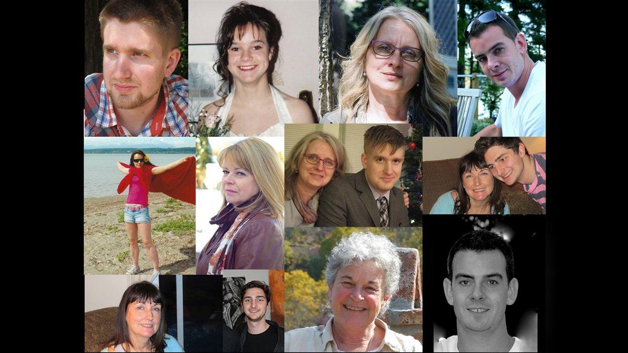 Portraits de plusieurs mères de familles de l'association canadienne mumsDU avec leur enfant décédé par surdose.