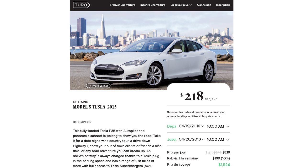 Un véhicule de luxe peut se louer plus de 200$ par jour sur Turo.