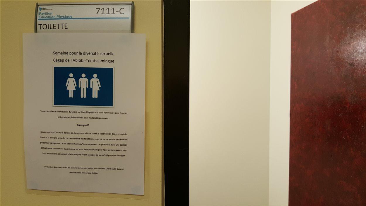 Des toilettes individuelles identifiées unisexe au Cégep de l'Abitibi-Témiscamingue