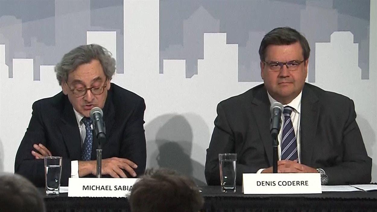 Michael Sabia et Denis Coderre lors de l'annonce du projet de SLR pour Montréal