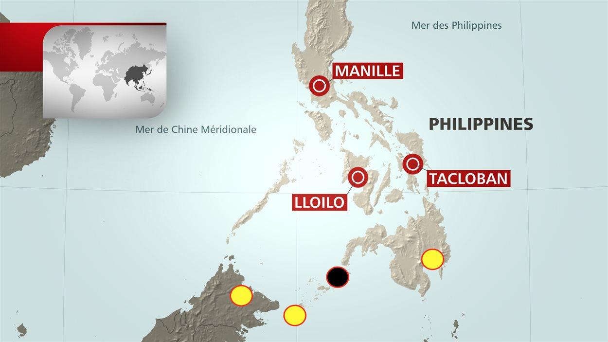 Sur cette carte de l'archipel des Philippines, le cercle noir représente la province de Sulu, où la police affirme avoir découvert la preuve de l'exécution de John Ridsdel. L'hôtel Holiday Oceanview, où il avait été enlevé, est représenté par le cercle jaune qui se trouve tout à droite.