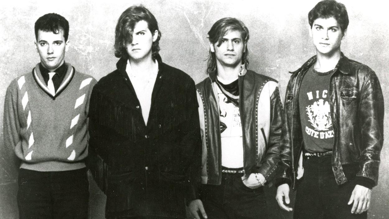 Alan McCarthy, Ivan Doroschuk, Stefan Doroschuk et Colin Doroschuk du groupe montréalais Men Without Hats