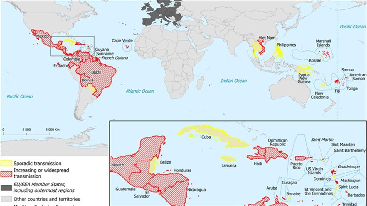 Carte des zones les plus touchées par le virus Zika