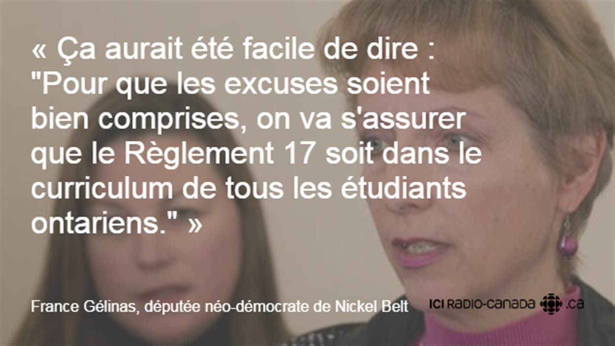 La députée néo-démocrate de Nickel Belt, France Gélinas sur le Règlement 17