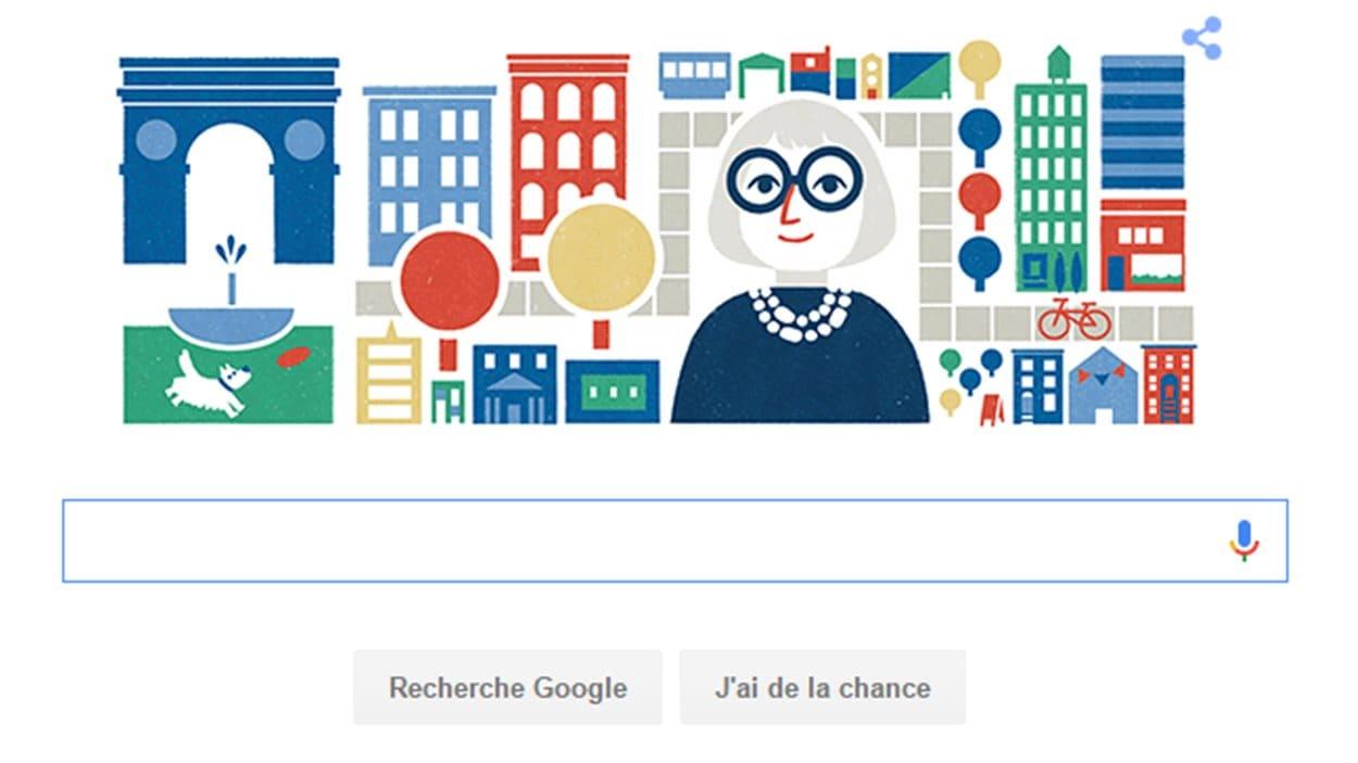 Jane Jacobs sur la page d'accueil de Google