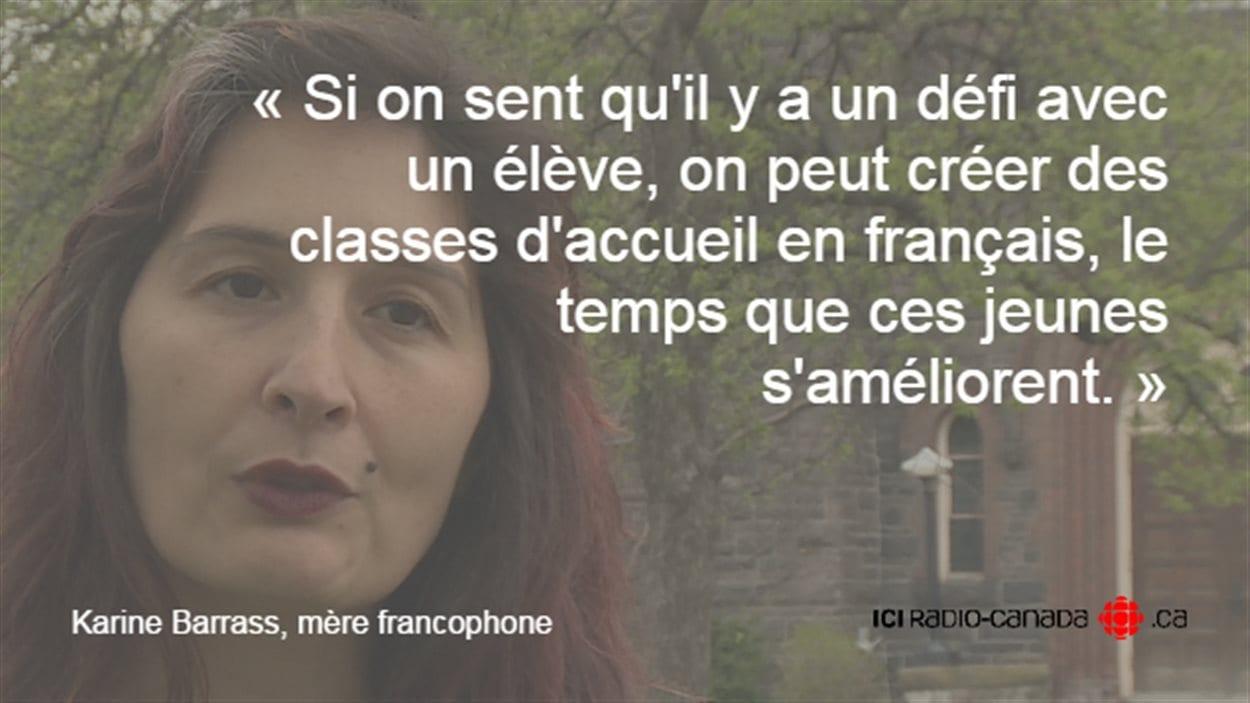 Karine Barrass, mère francophone