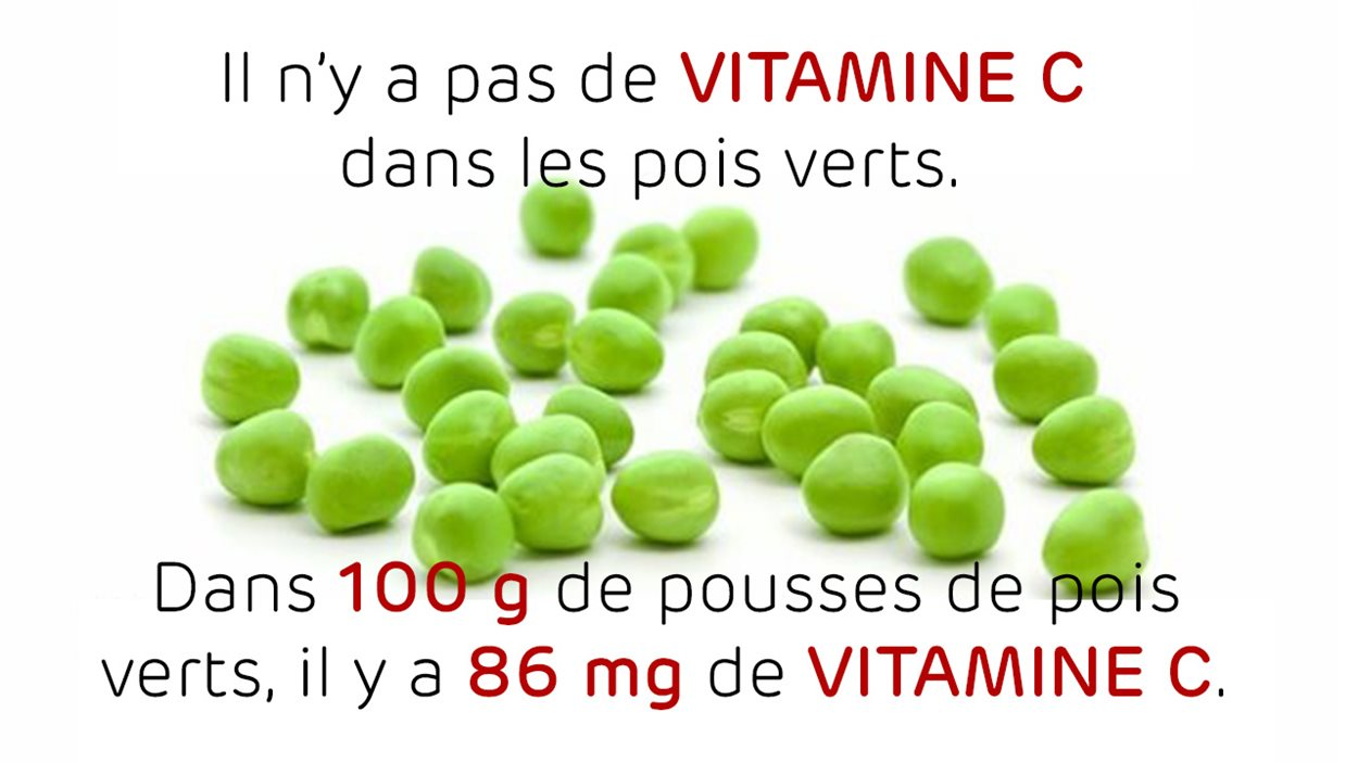 Vitamine C dans les pois verts