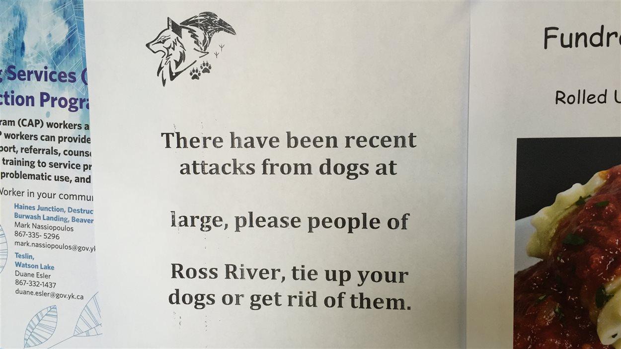 affiche demandant aux résidents de Ross River d'attacher leurs chiens