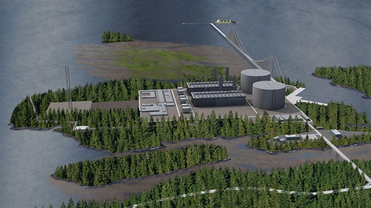Simulation du projet de terminal de la compagnie Pacific Northwest LNG près de Prince Rupert en Colombie-Britannique.