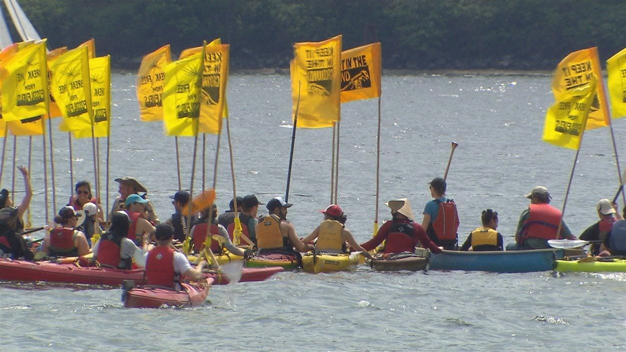 Les «kayactivistes» dans les eaux vancouvéroises, le samedi 14 mai 2016.