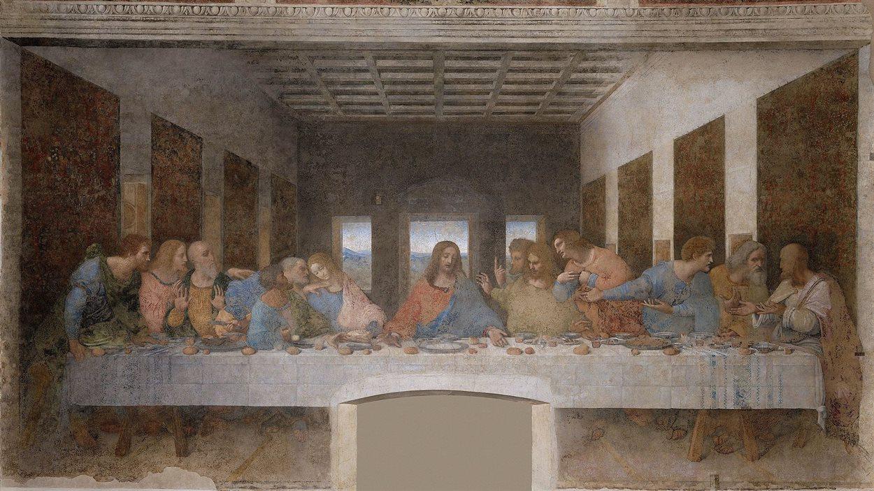 La Cène de Léonard de Vinci, réalisée de 1494 à 1498 pour le réfectoire du couvent dominicain de Santa Maria delle Grazie à Milan