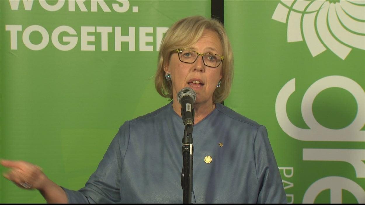 Elizabeth May lors de sa victoire aux élections fédérales dans la circonscription de Saanich-Gulf Islands le 19 octobre 2015.