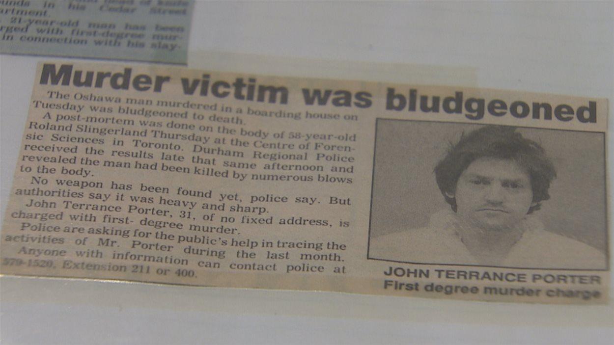 John Terrance Porter a tué Roland Slingerland avec une hache en 1991.