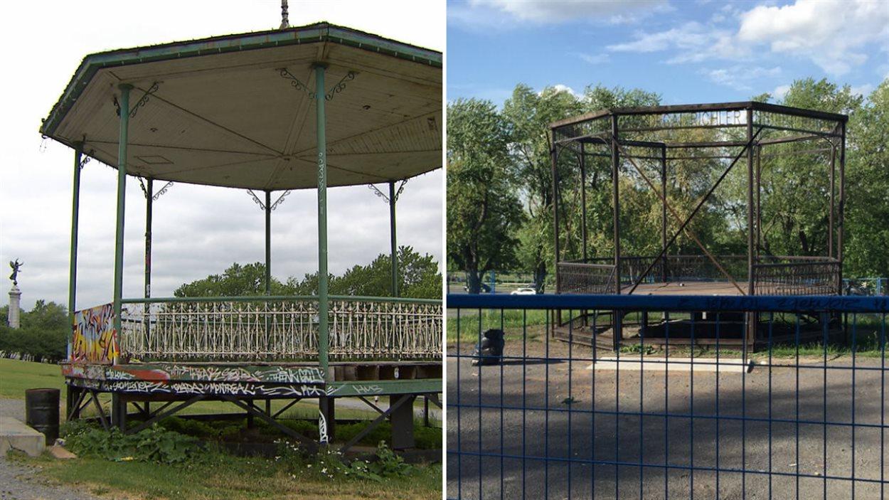 Le kiosque en 2011 (à gauche) et en 2016 (à droite)