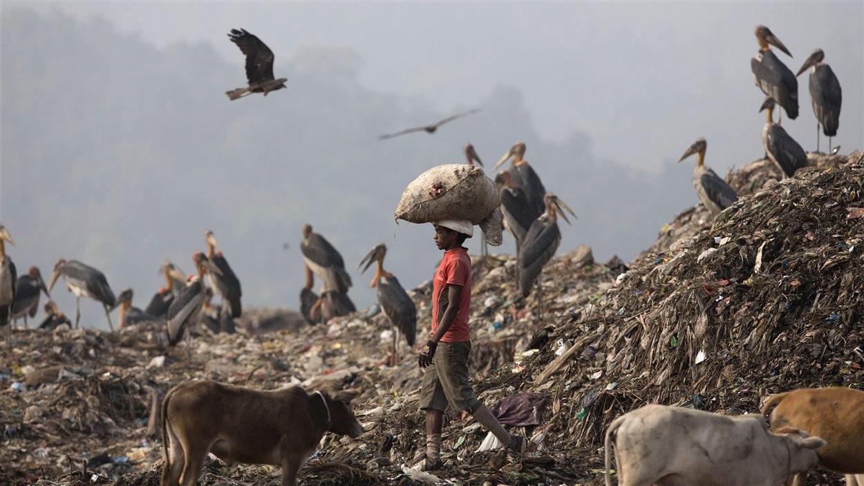 Un jeune garçon transporte un sac de matières recyclables dans un dépotoir près de Guwahati, en Inde.