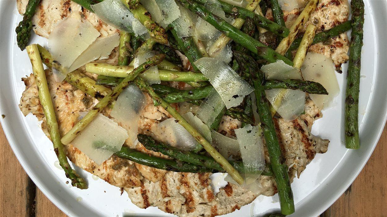 Paillarde de poulet, asperges grillées et huile de citron
