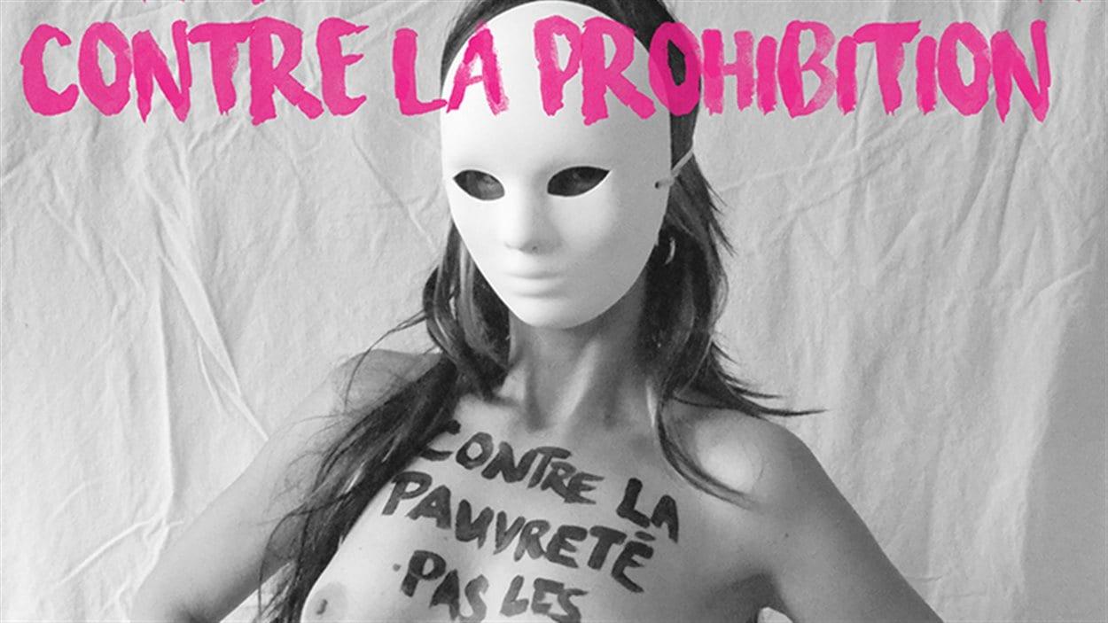 Affiche d'une travailleuse du sexe contre l'exploitation et la prohibition