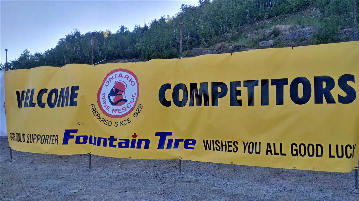 Affiche de la compétition provinciale annuelle de sauvetage en milieu minier, à Onaping Falls.