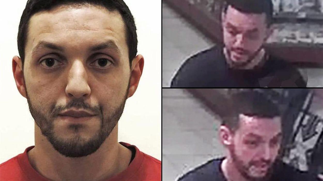 Cette photo fournie par la police belge montre Mohamed Abrini. Les images de droite sont extraites d'une vidéo de surveillance captée deux jours avant les attentats de Paris.