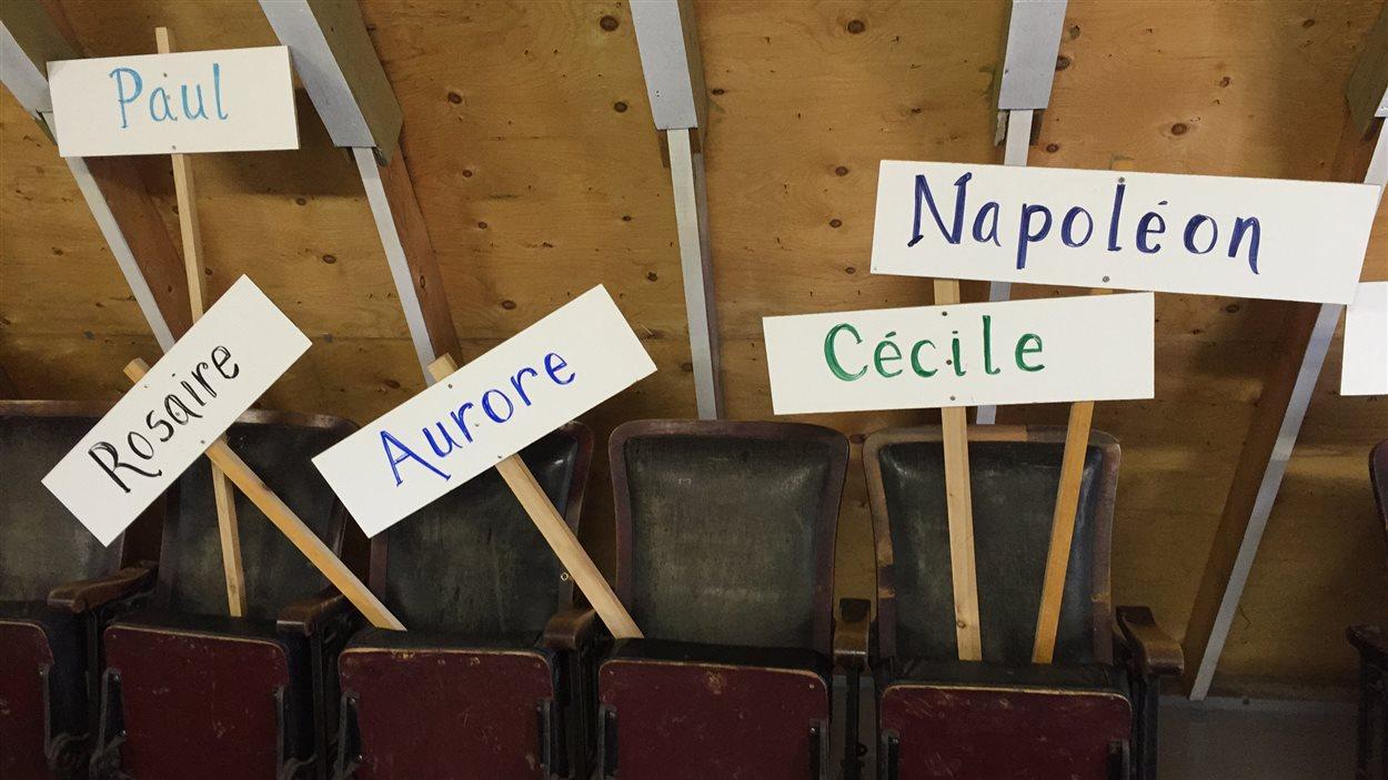 Des panneaux avec des prénoms de membres de la famille Comeault, réunis au festival Montcalm à Saint-Joseph.