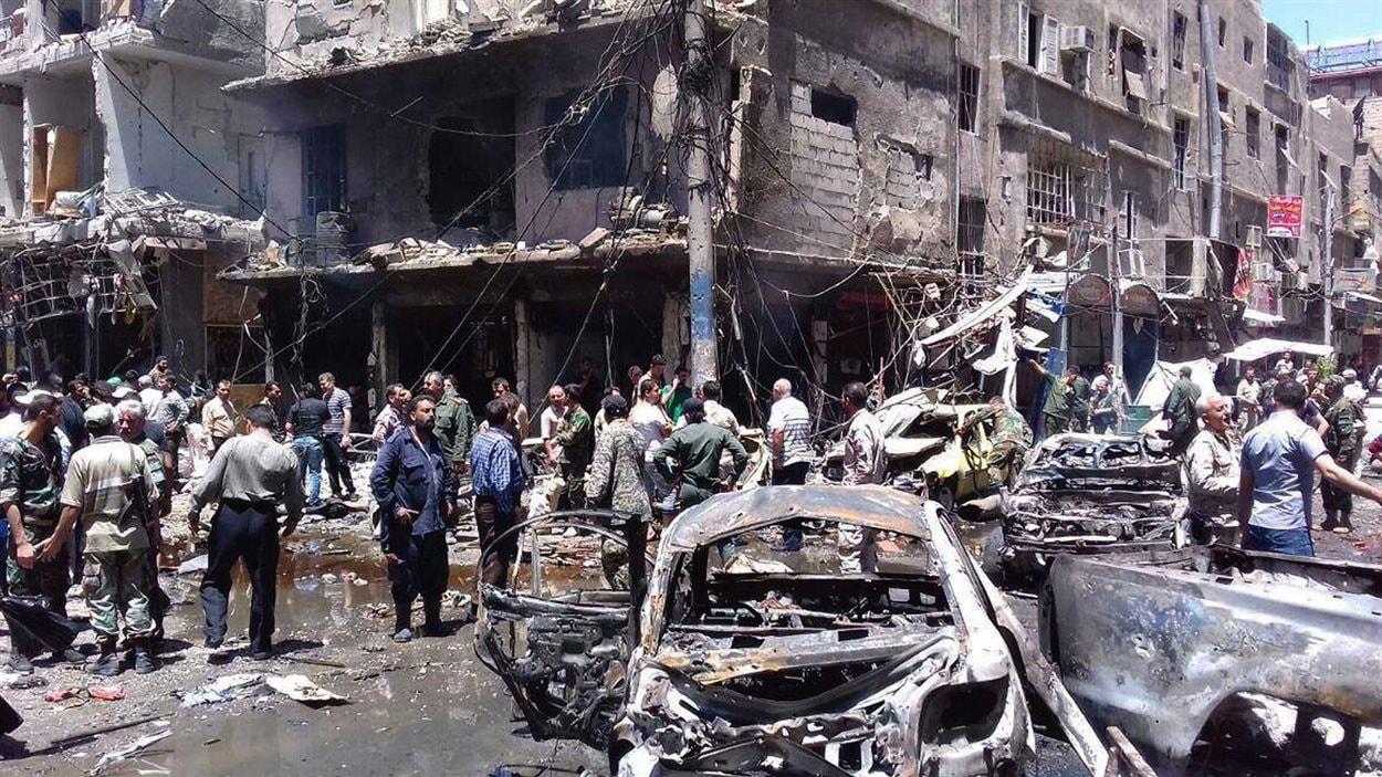 Le quartier de Sayeda Zeinab, après un double attentat-suicide qui a fait au moins 20 morts.