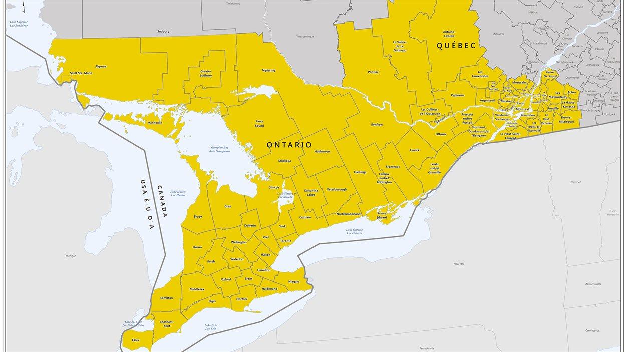 Les zones règlementées par l'Agence canadienne d'inspection des aliments (ACIA) pour l'agrile du frêne