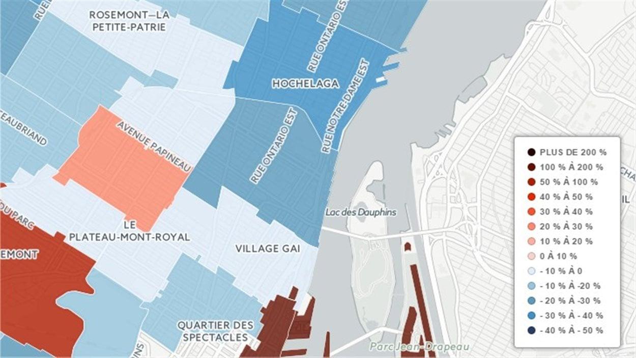 Carte revenus et quartiers à Montréal