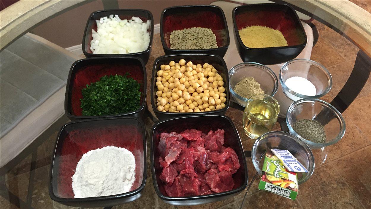 Les ingrédients pour la soupe harira