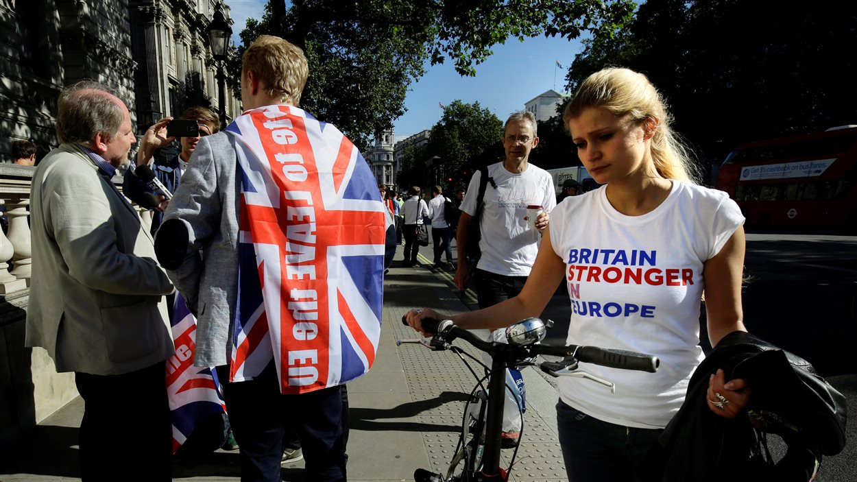 Une partisane de l'Union européenne à Londres.