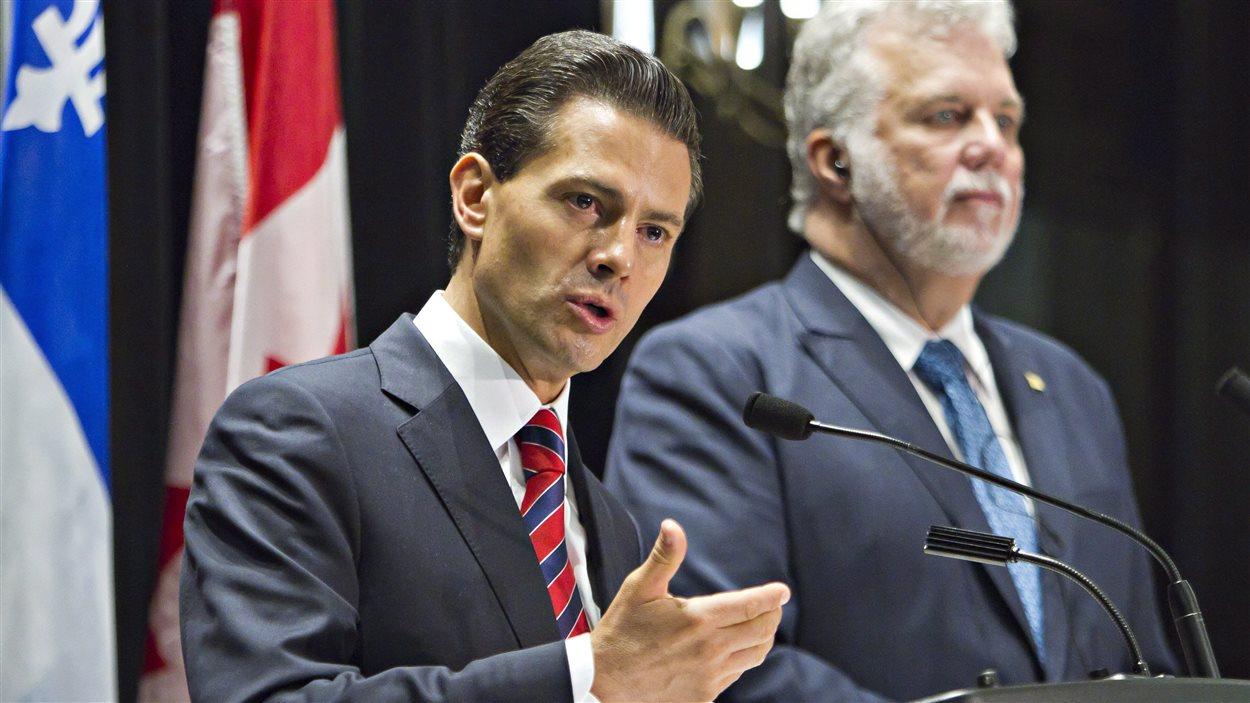 Le président Enrique Pena Nieto rencontre le premier ministre Philippe Couillard à Québec, le 27 juin.