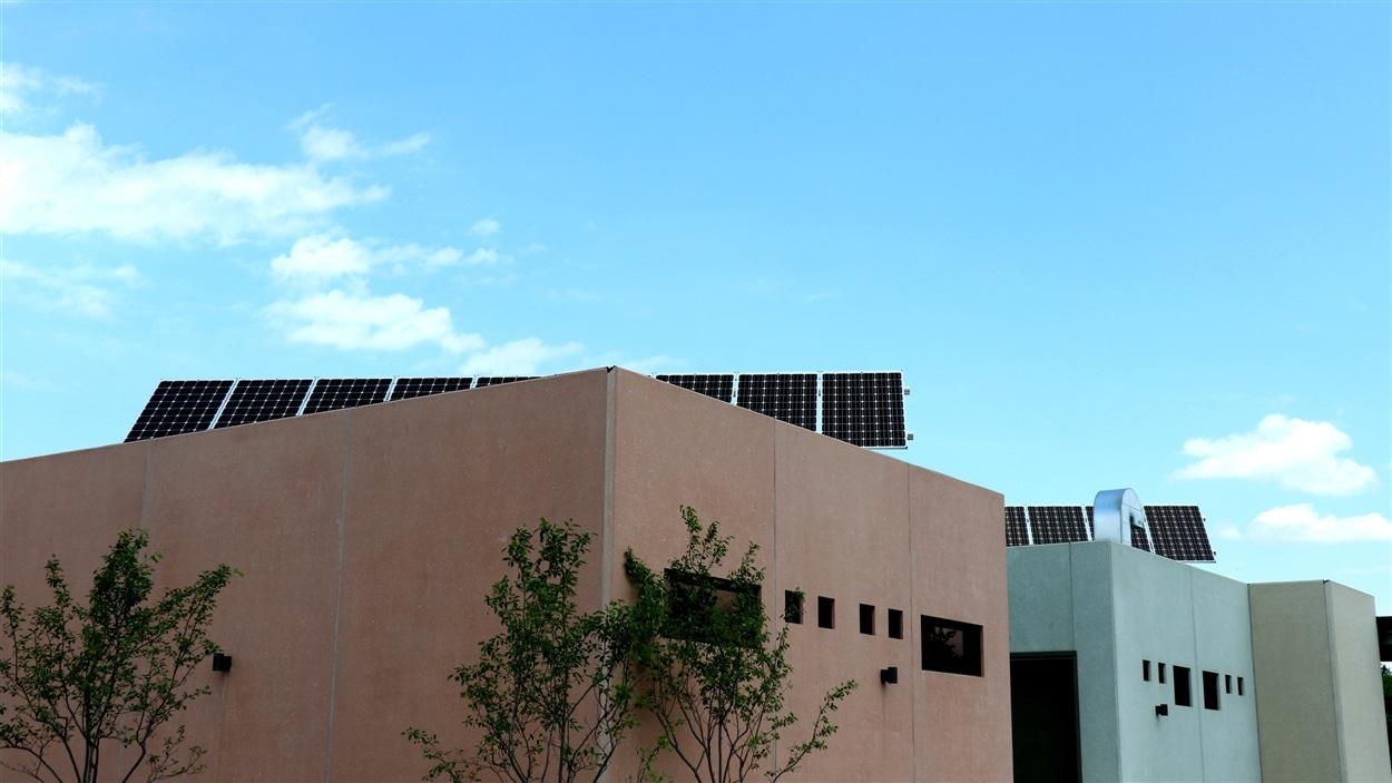 Panneaux solaires à l'écocentre de Saint-Laurent