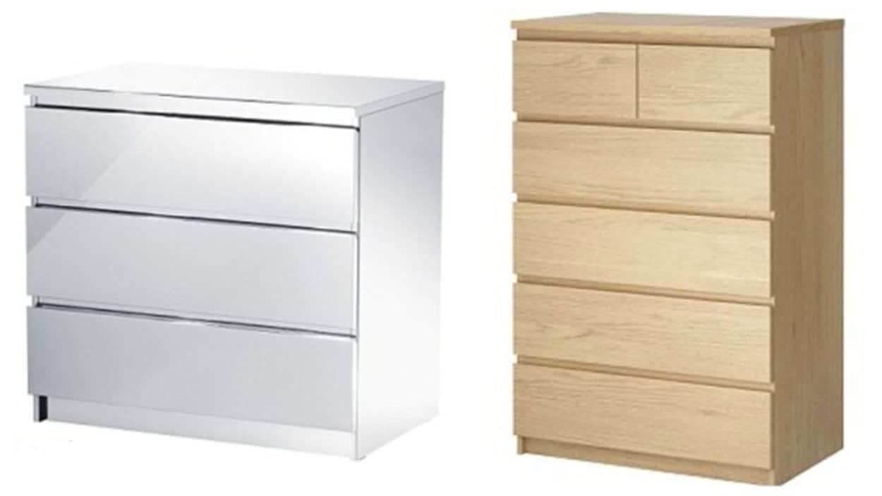 Deux modèles de commodes de la gamme Malm d'Ikea