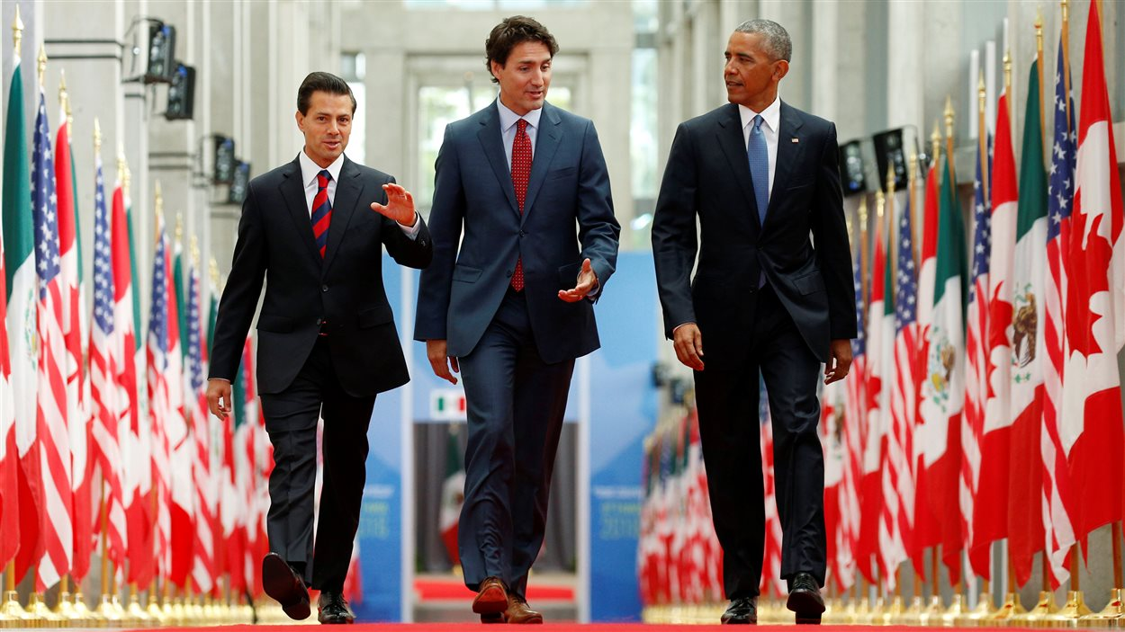 Justin Trudeau en compagnie d'Enrique Pena Nieto et Barack Obama