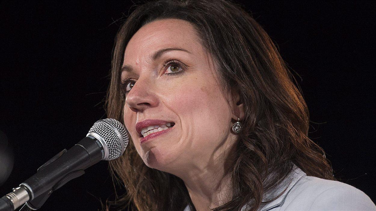 Martine Ouellet, lors du lancement de sa campagne à la direction du Parti québécois à Montréal. (Archives)