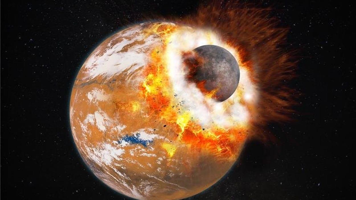 Impression artistique de la collision entre Mars et une protoplanète qui aurait donné naissance aux lunes Phobos et Deimos.