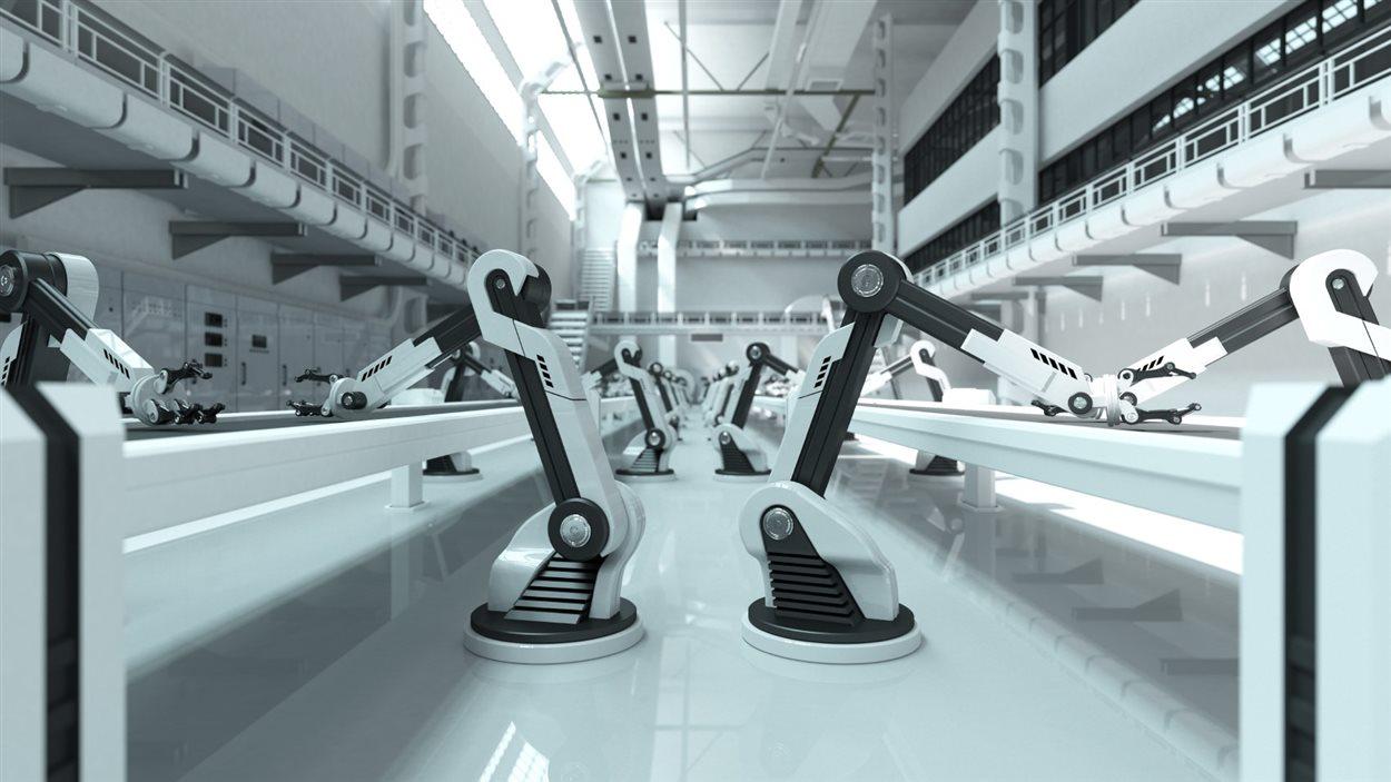 Des robots sur une ligne d'assemblage