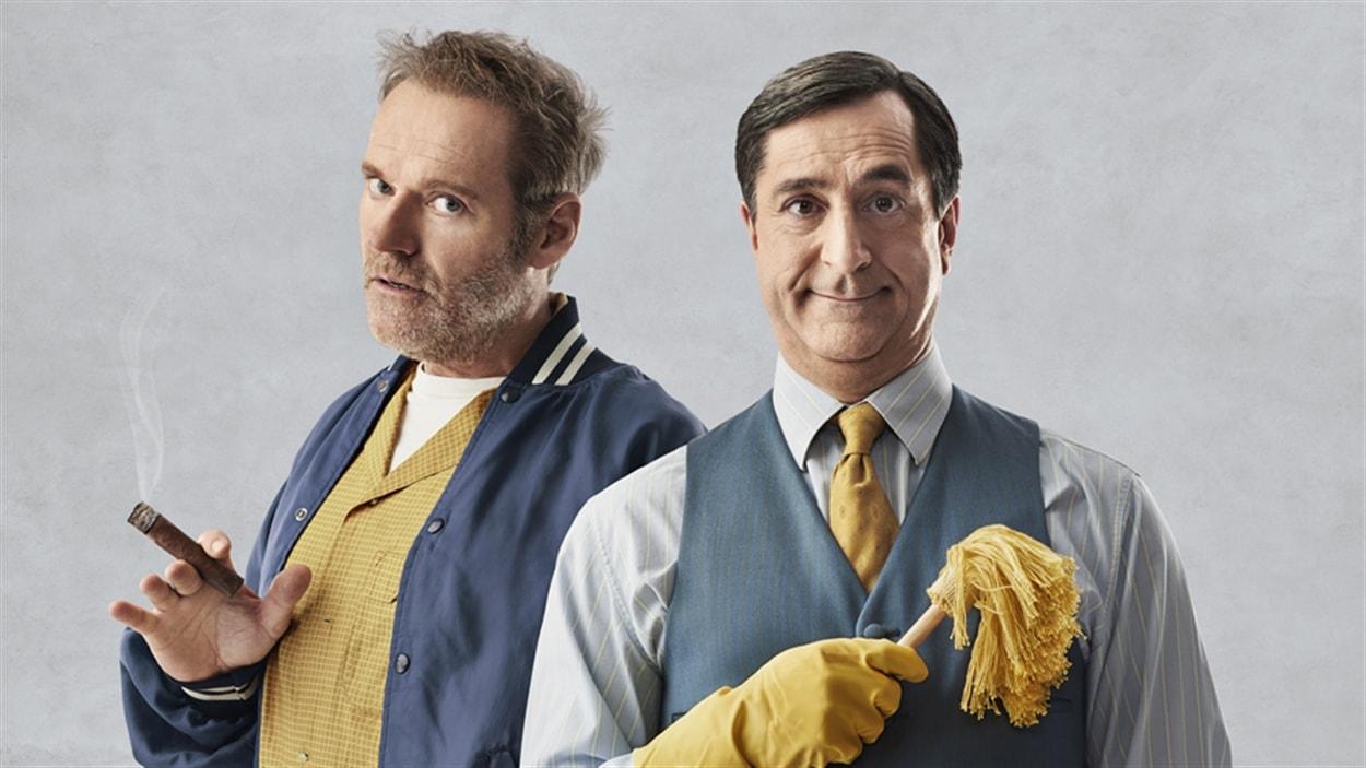 Luc Guérin et Martin Drainville dans la pièce <i>Drôle de couple</i>, de Neil Simon, mise en scène par Neil Simon